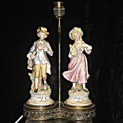 BOY WITH GIRL LAMP ANTIQUES